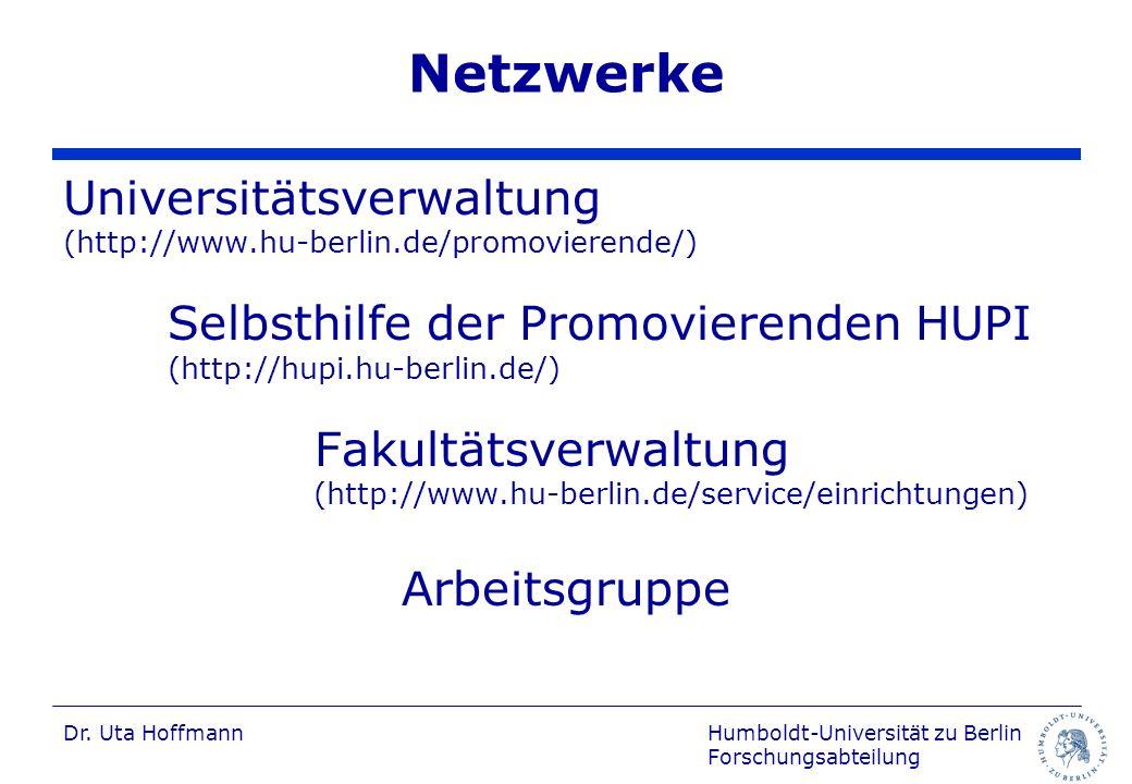 Netzwerke Universitätsverwaltung Fakultätsverwaltung Arbeitsgruppe