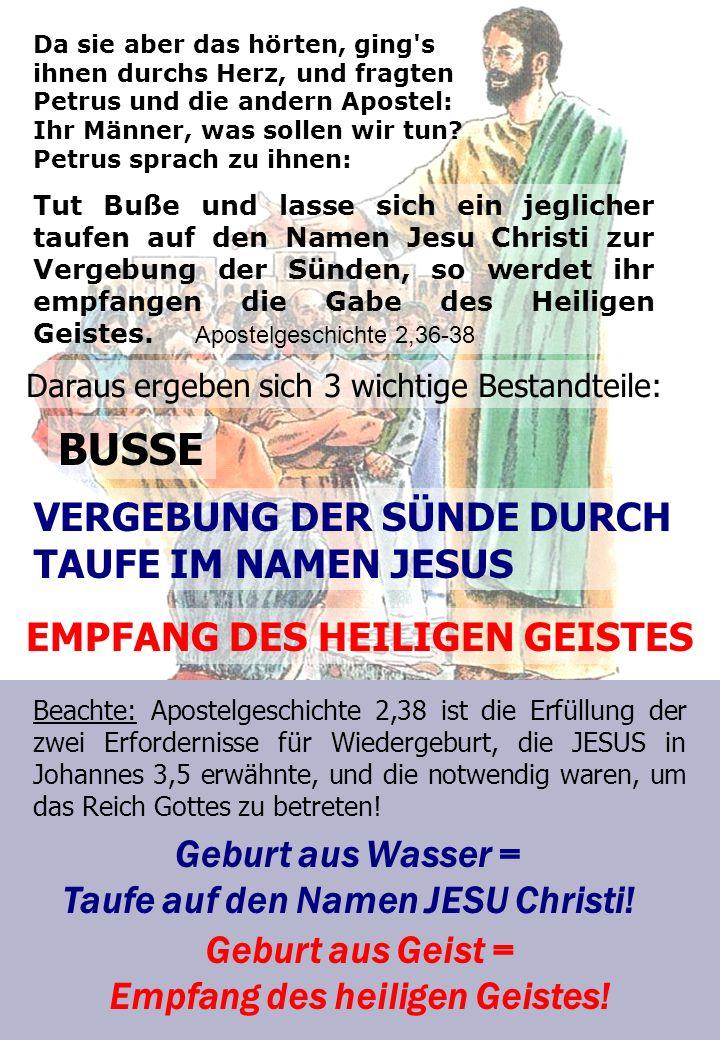 BUSSE VERGEBUNG DER SÜNDE DURCH TAUFE IM NAMEN JESUS