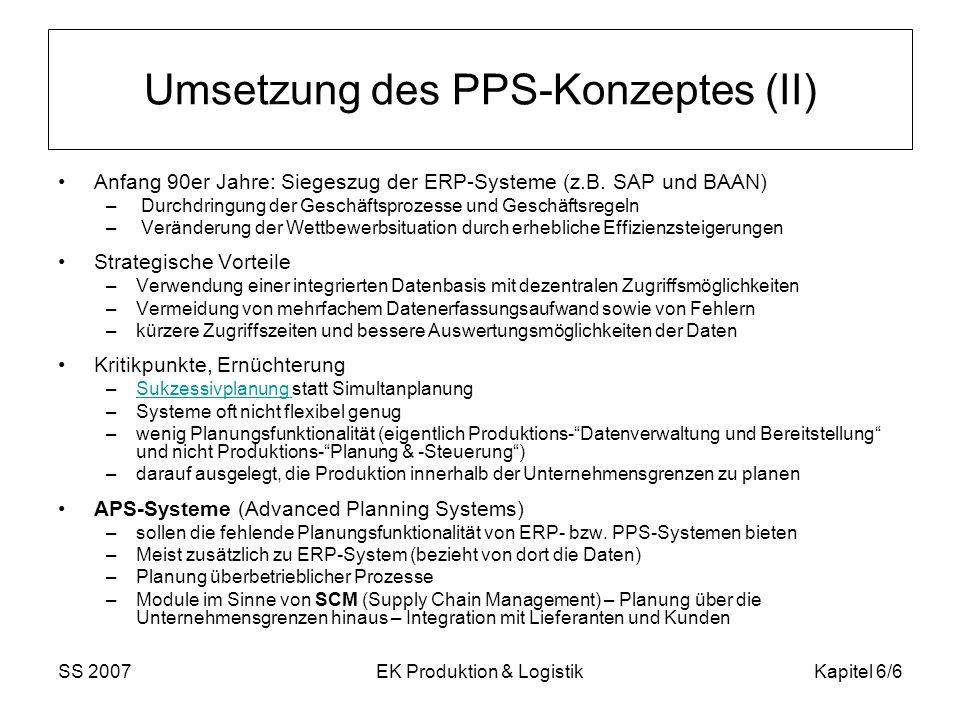 Umsetzung des PPS-Konzeptes (II)