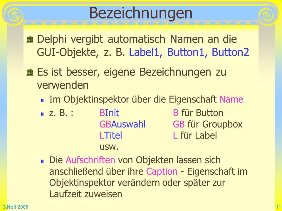 Bezeichnungen Delphi vergibt automatisch Namen an die GUI-Objekte, z. B. Label1, Button1, Button2. Es ist besser, eigene Bezeichnungen zu verwenden.