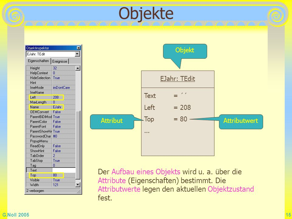 Objekte Objekt. EJahr: TEdit. Text = ´´ Left = 208. Top = 80. ... Attribut. Attributwert.
