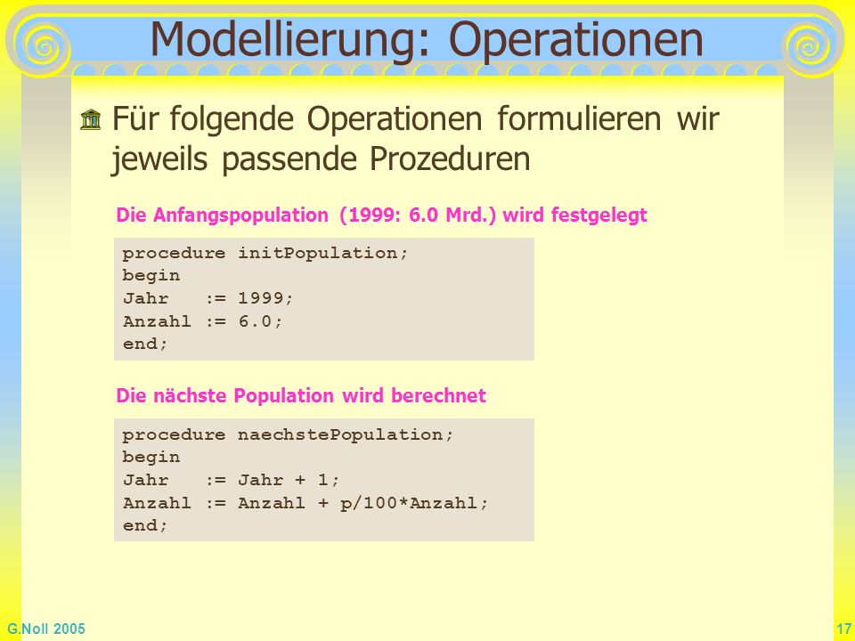 Modellierung: Operationen