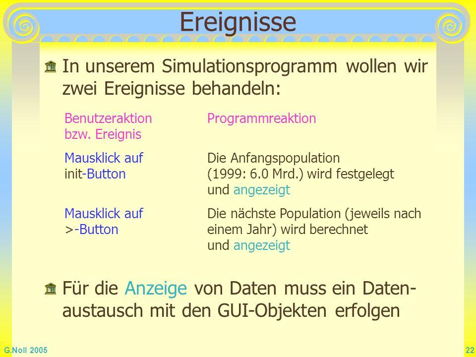 Ereignisse In unserem Simulationsprogramm wollen wir zwei Ereignisse behandeln: Benutzeraktion bzw. Ereignis.