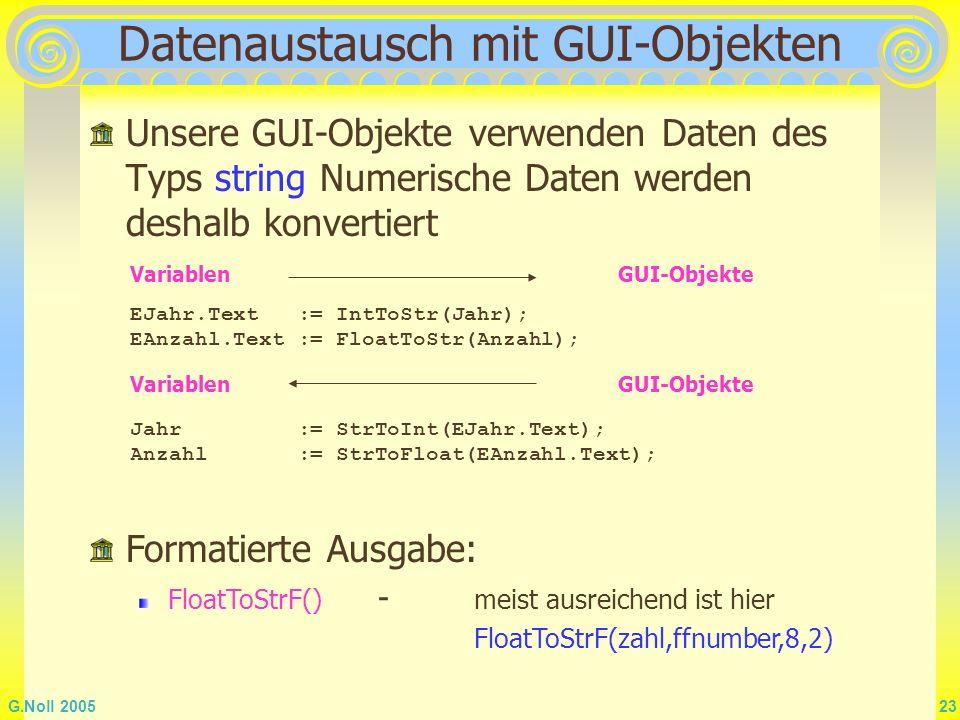 Datenaustausch mit GUI-Objekten