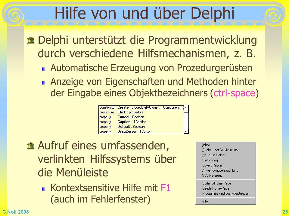 Hilfe von und über Delphi