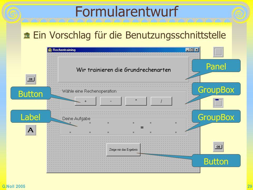 Formularentwurf Ein Vorschlag für die Benutzungsschnittstelle Panel