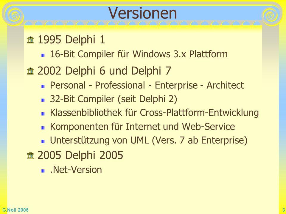 Versionen 1995 Delphi 1 2002 Delphi 6 und Delphi 7 2005 Delphi 2005