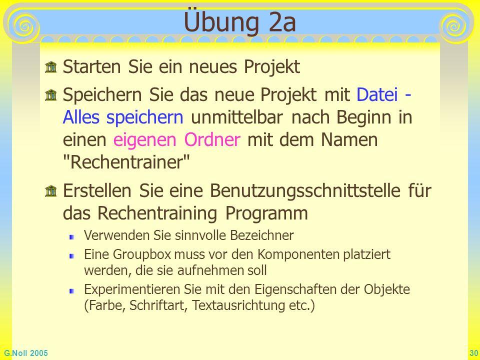 Übung 2a Starten Sie ein neues Projekt