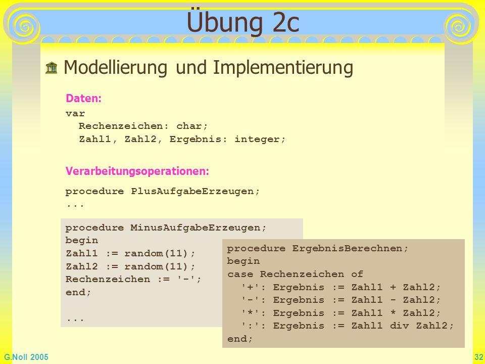 Übung 2c Modellierung und Implementierung Daten: var