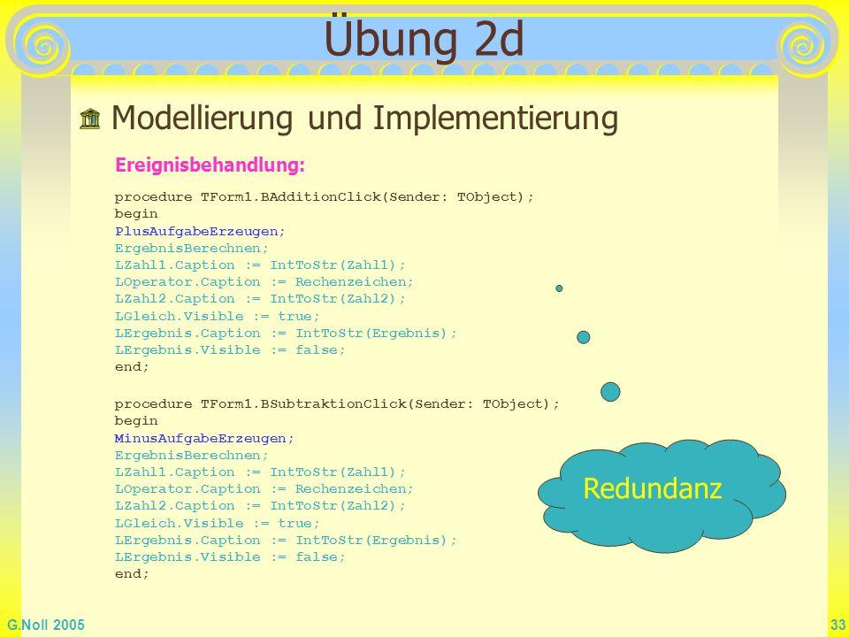 Übung 2d Modellierung und Implementierung Redundanz