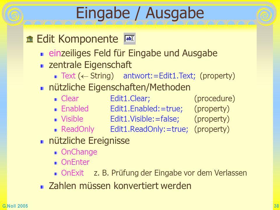 Eingabe / Ausgabe Edit Komponente