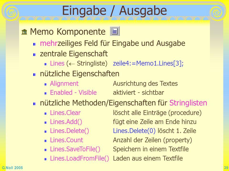 Eingabe / Ausgabe Memo Komponente