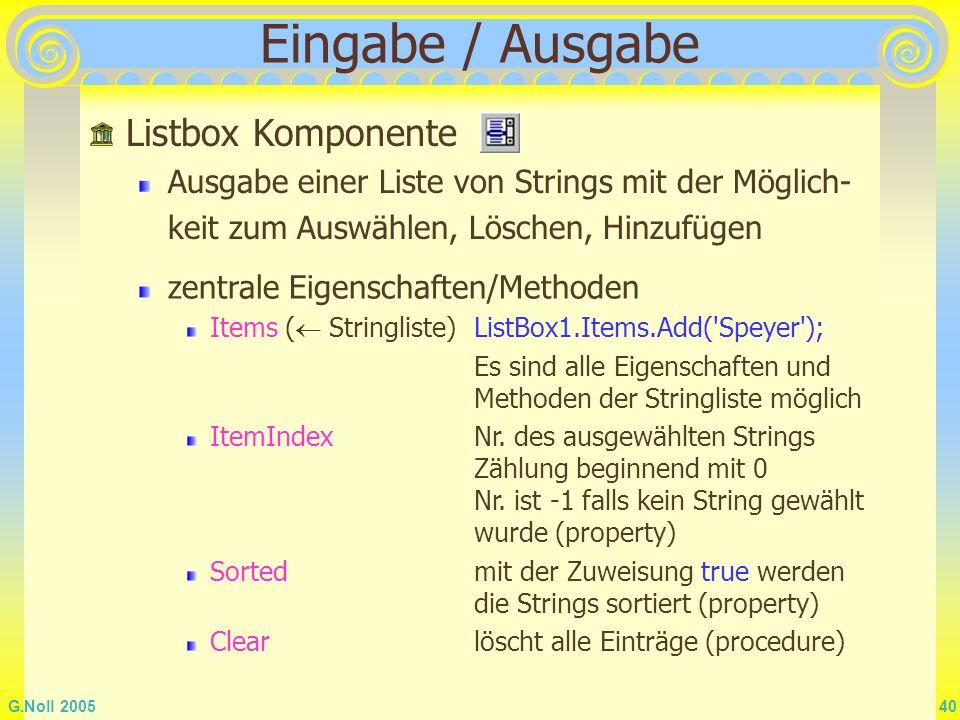 Eingabe / Ausgabe Listbox Komponente