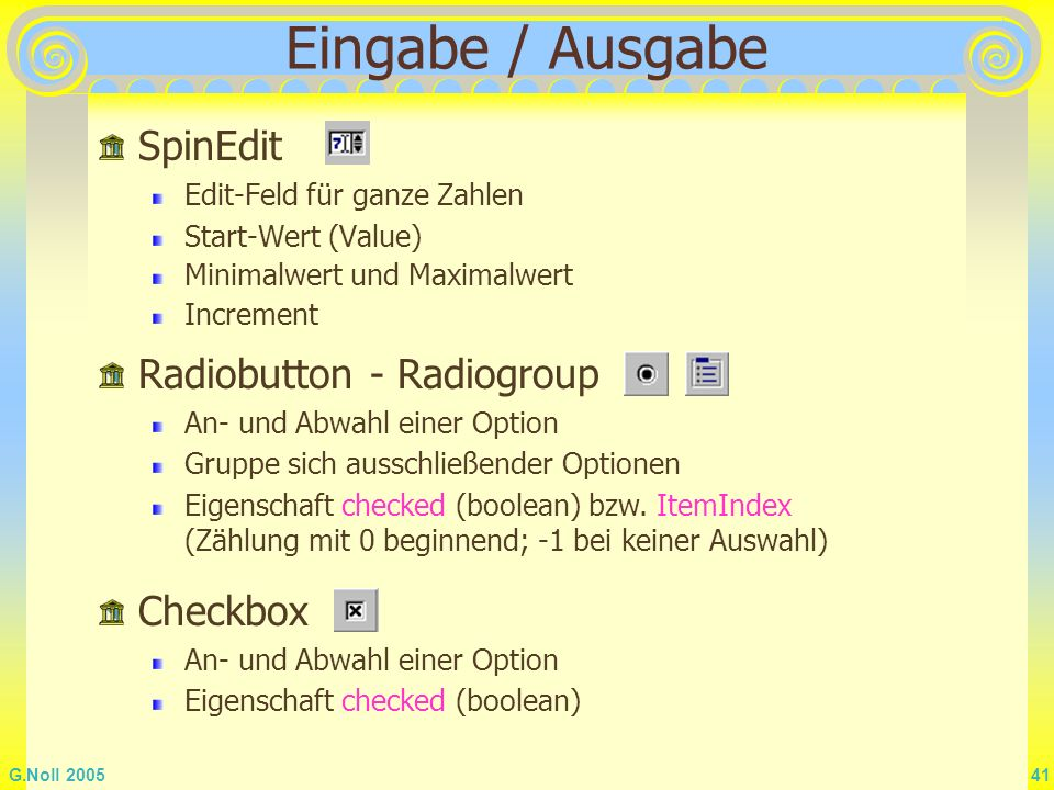 Eingabe / Ausgabe SpinEdit Radiobutton - Radiogroup Checkbox