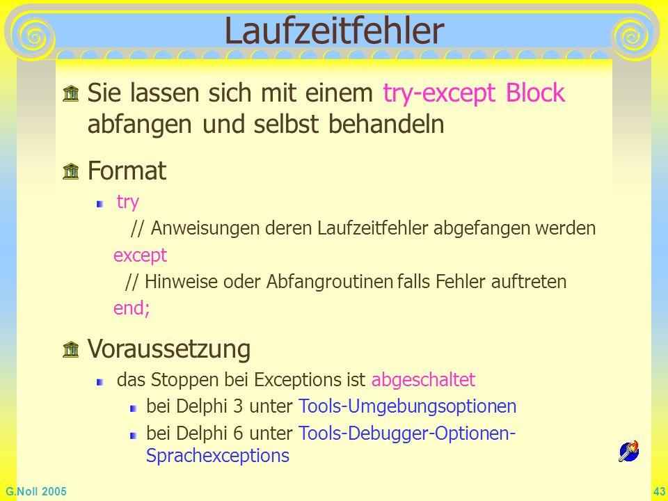 Laufzeitfehler Sie lassen sich mit einem try-except Block abfangen und selbst behandeln. Format. try.