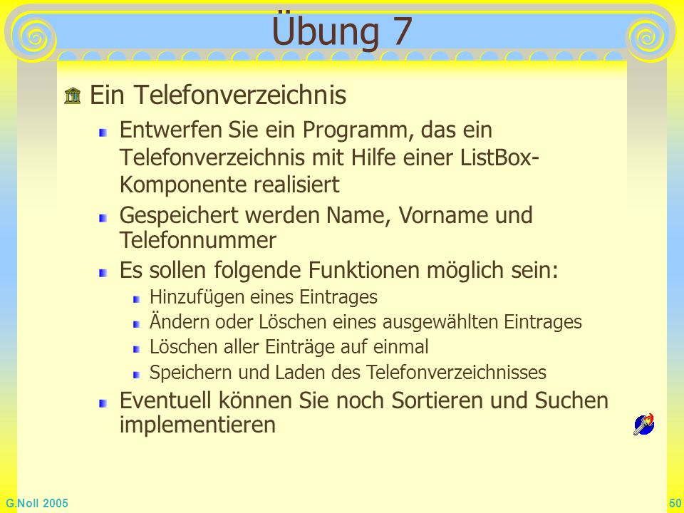 Übung 7 Ein Telefonverzeichnis