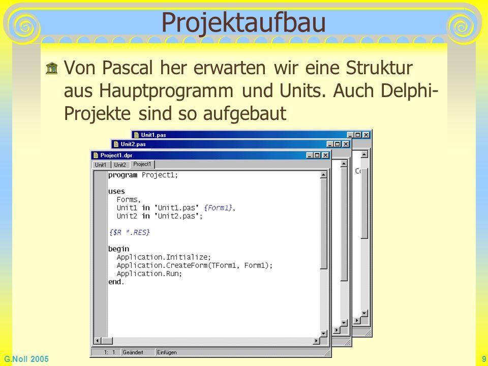 Projektaufbau Von Pascal her erwarten wir eine Struktur aus Hauptprogramm und Units.