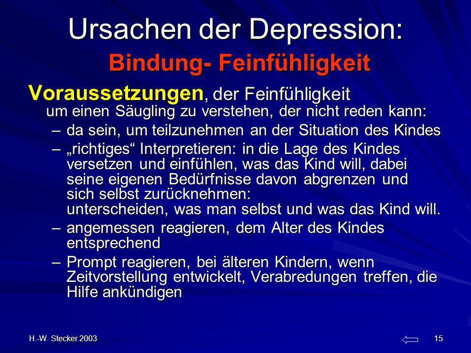 Ursachen der Depression: Bindung- Feinfühligkeit