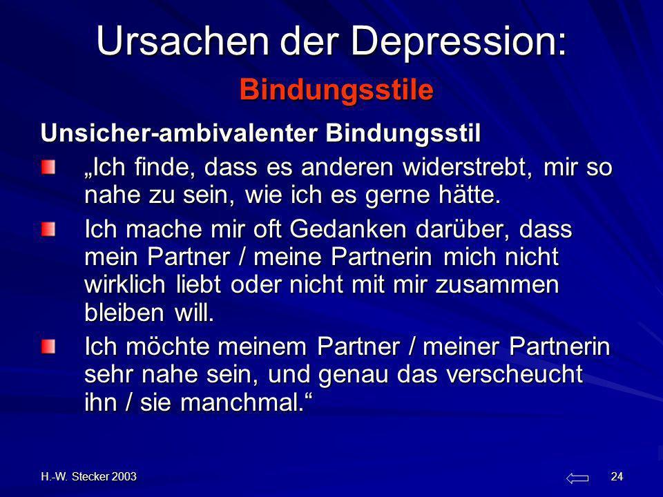 Ursachen der Depression: Bindungsstile