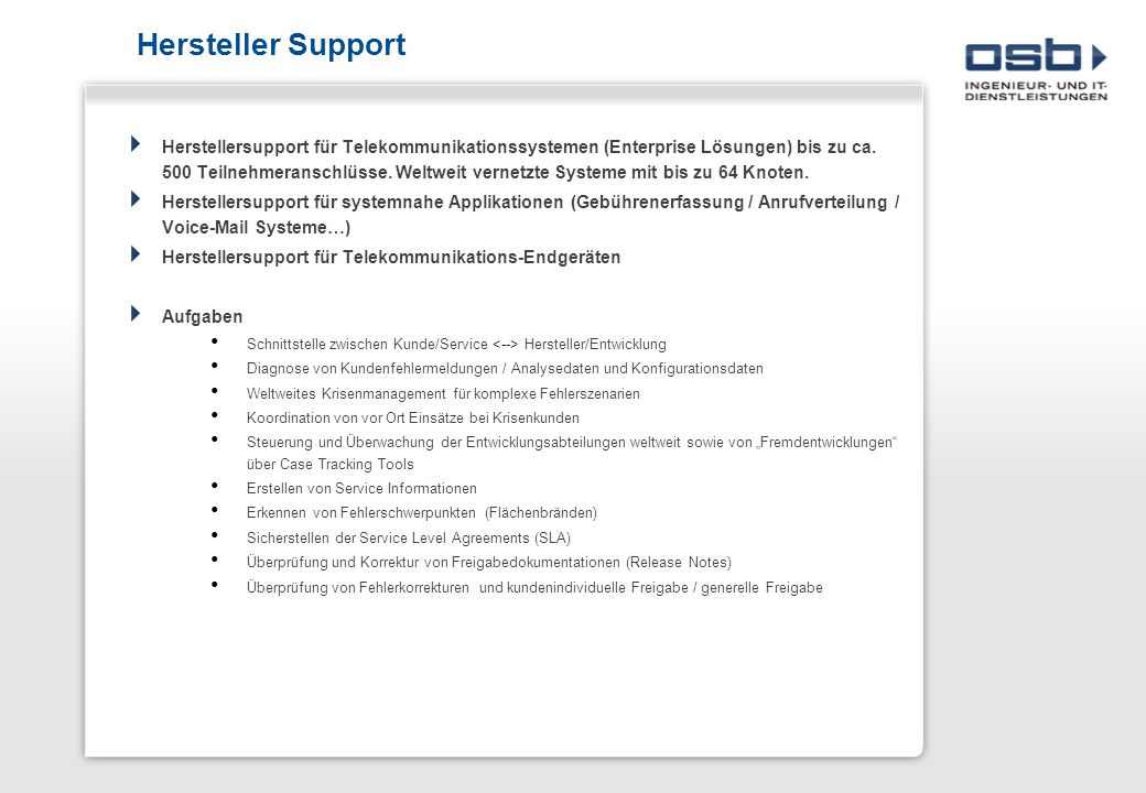 Hersteller Support