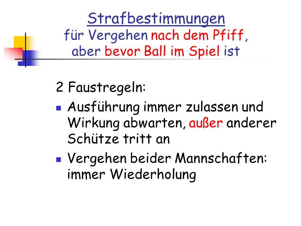 Strafbestimmungen für Vergehen nach dem Pfiff, aber bevor Ball im Spiel ist