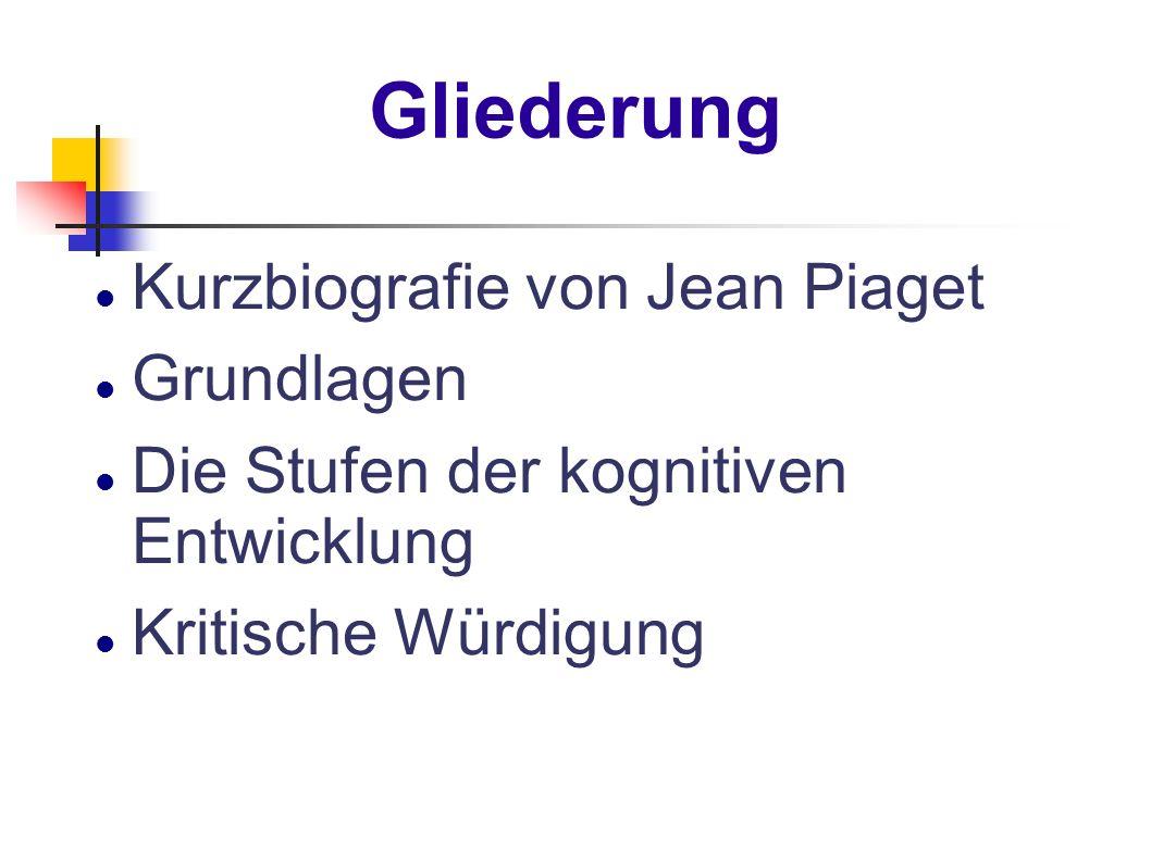 Gliederung Kurzbiografie von Jean Piaget Grundlagen