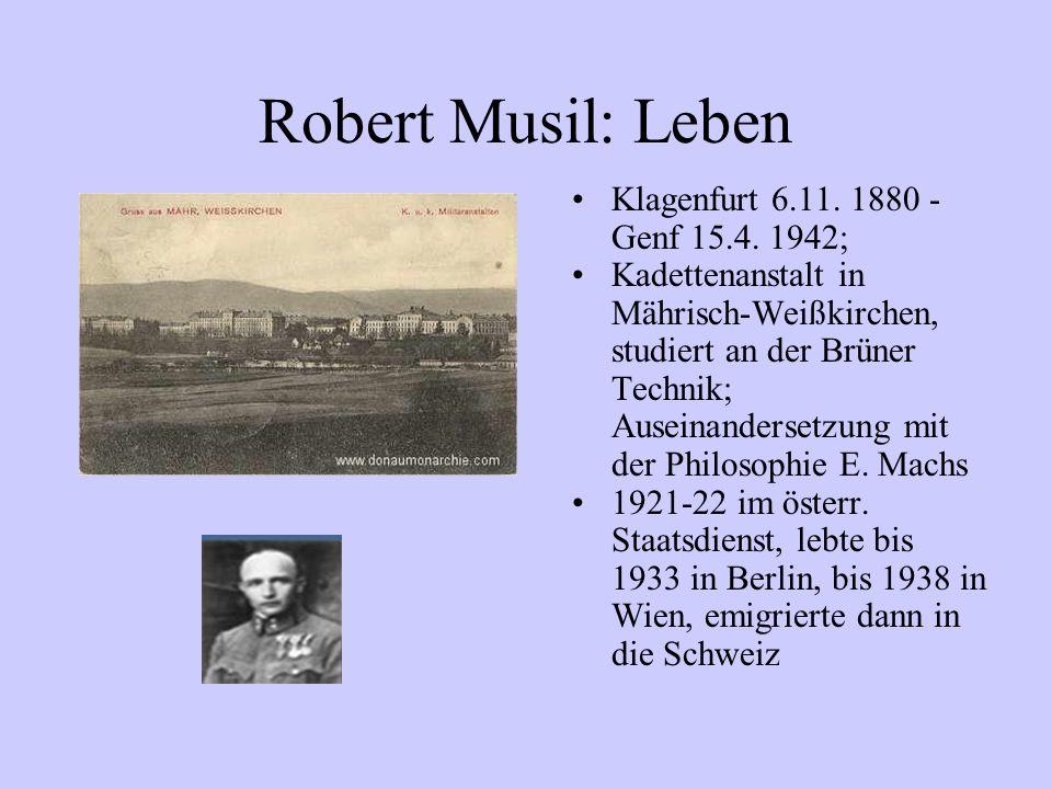 Robert Musil: Leben Klagenfurt 6.11. 1880 -Genf 15.4. 1942;