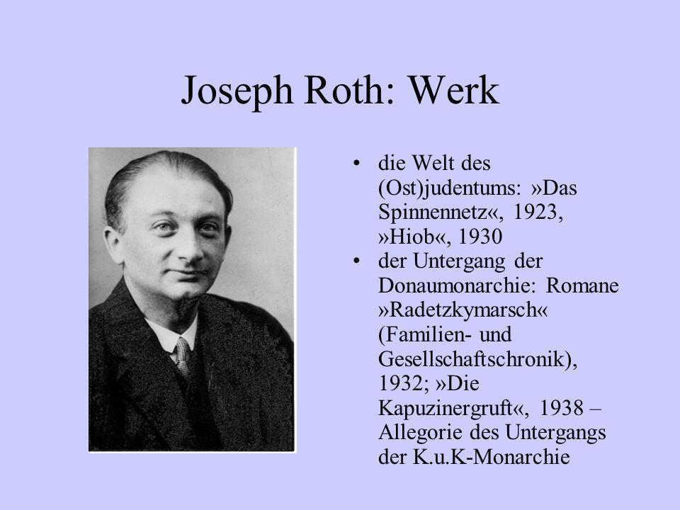 Joseph Roth: Werk die Welt des (Ost)judentums: »Das Spinnennetz«, 1923, »Hiob«, 1930.
