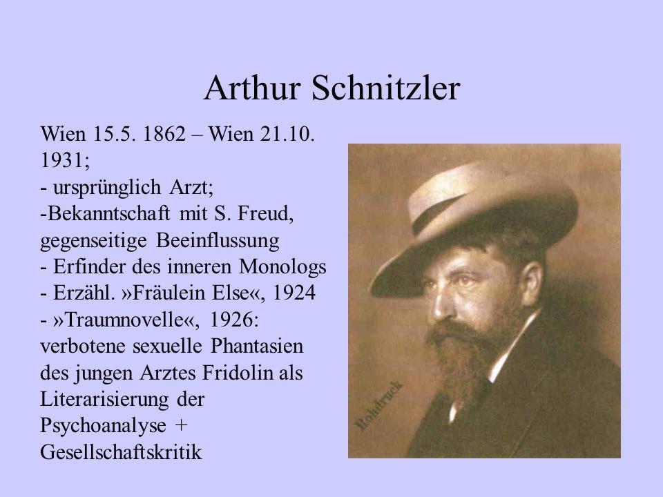 Arthur Schnitzler Wien 15.5. 1862 – Wien 21.10. 1931;