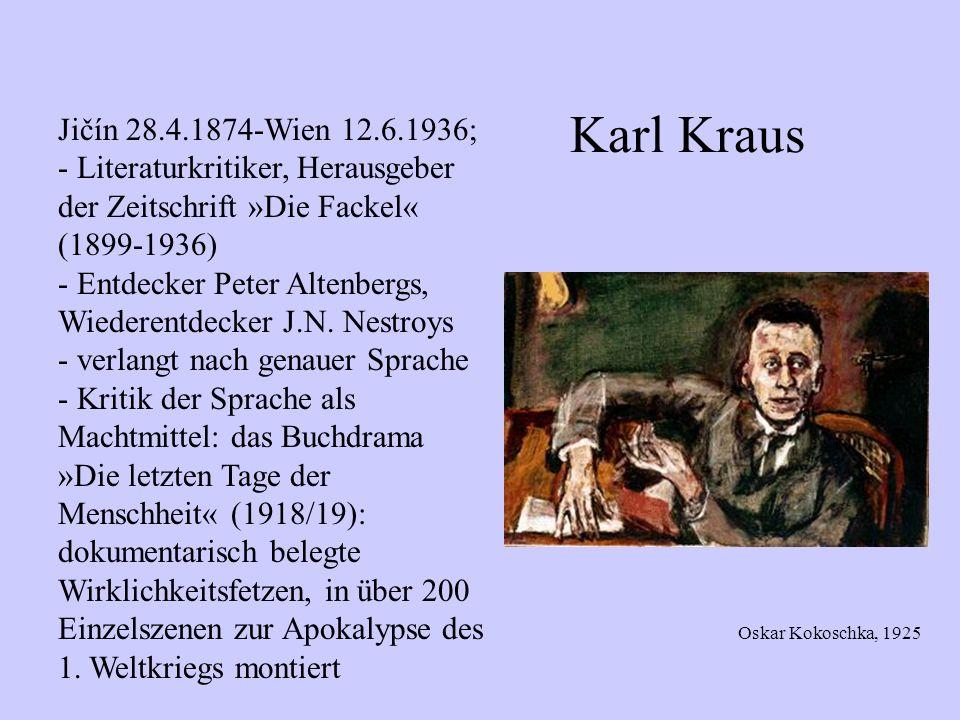 Karl Kraus Jičín 28.4.1874-Wien 12.6.1936;