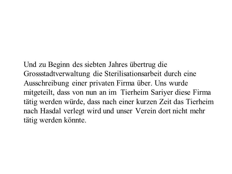 Und zu Beginn des siebten Jahres übertrug die Grossstadtverwaltung die Sterilisationsarbeit durch eine Ausschreibung einer privaten Firma über.