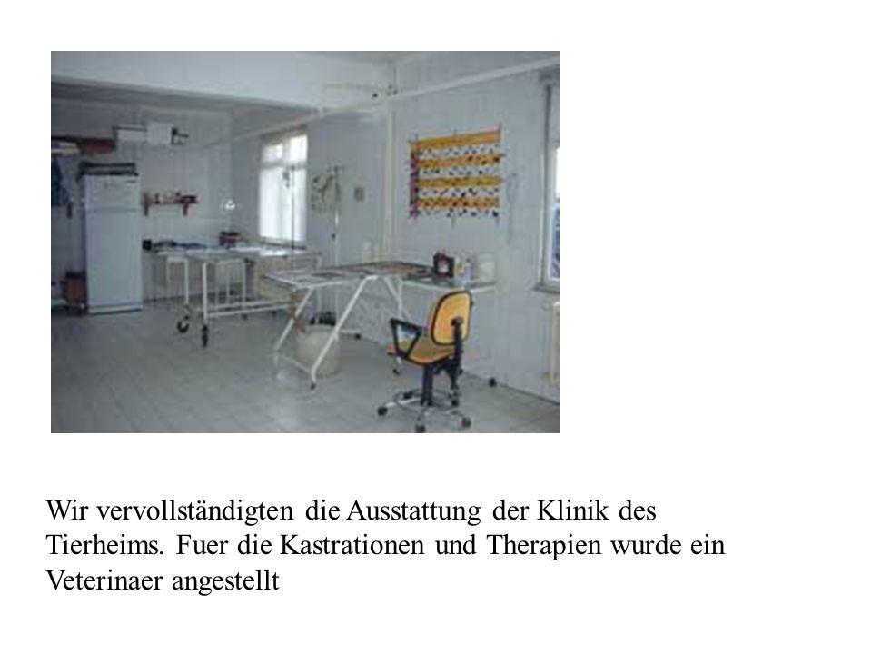Wir vervollständigten die Ausstattung der Klinik des Tierheims