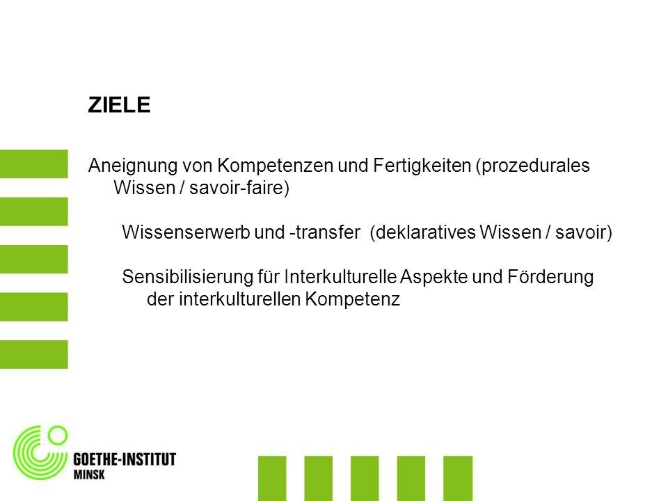 ZIELE Aneignung von Kompetenzen und Fertigkeiten (prozedurales Wissen / savoir-faire) Wissenserwerb und -transfer (deklaratives Wissen / savoir)