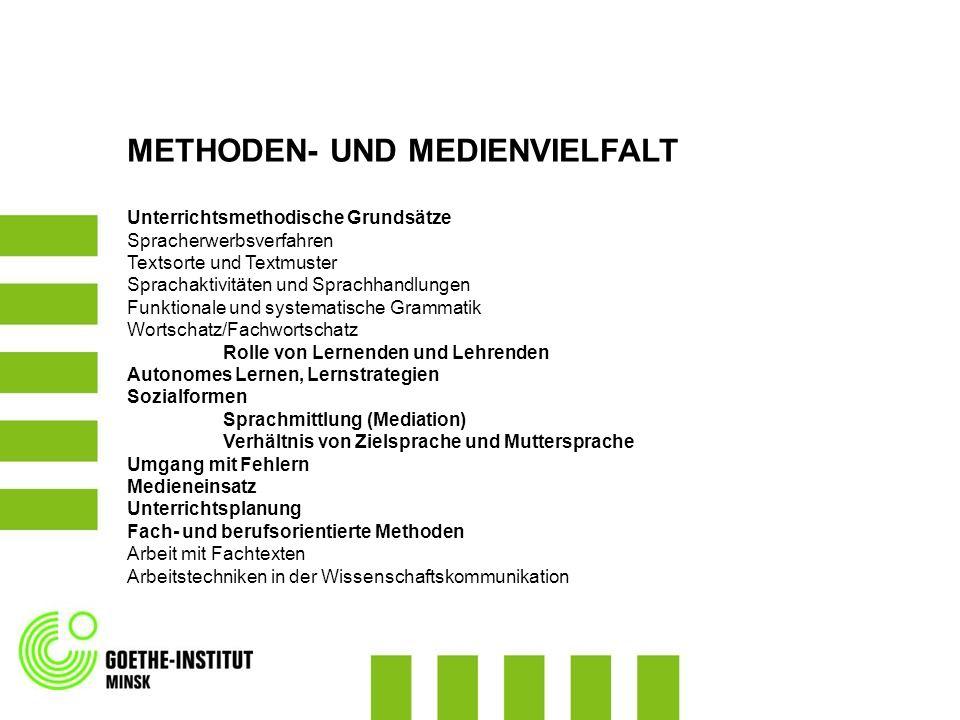 METHODEN- UND MEDIENVIELFALT