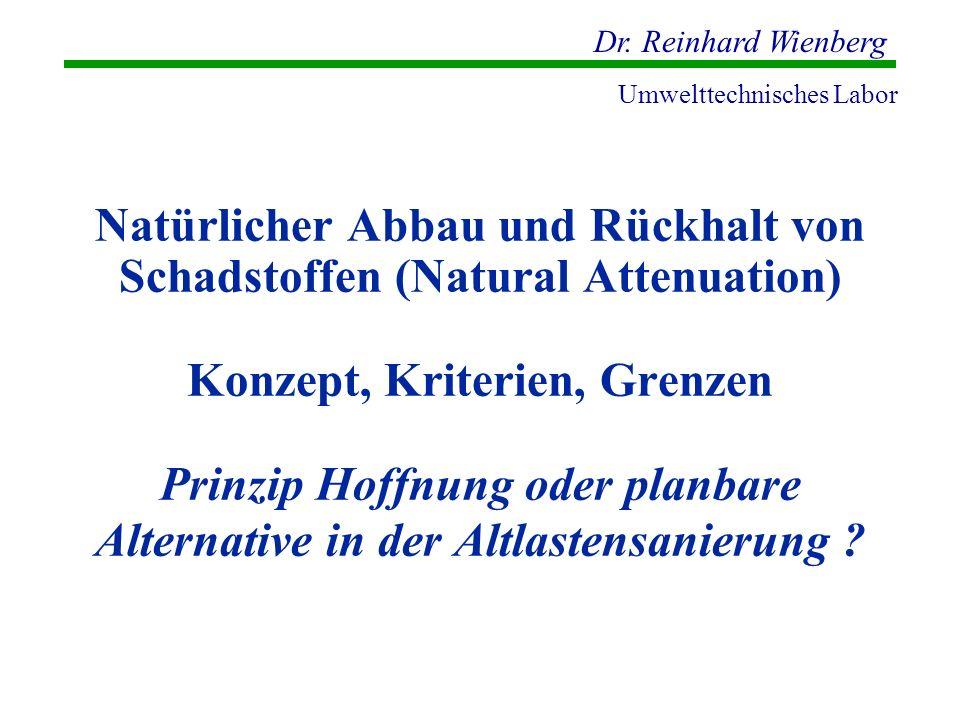 Natürlicher Abbau und Rückhalt von Schadstoffen (Natural Attenuation) Konzept, Kriterien, Grenzen Prinzip Hoffnung oder planbare Alternative in der Altlastensanierung
