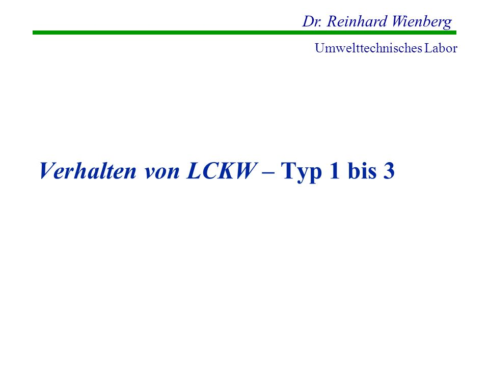 Verhalten von LCKW – Typ 1 bis 3