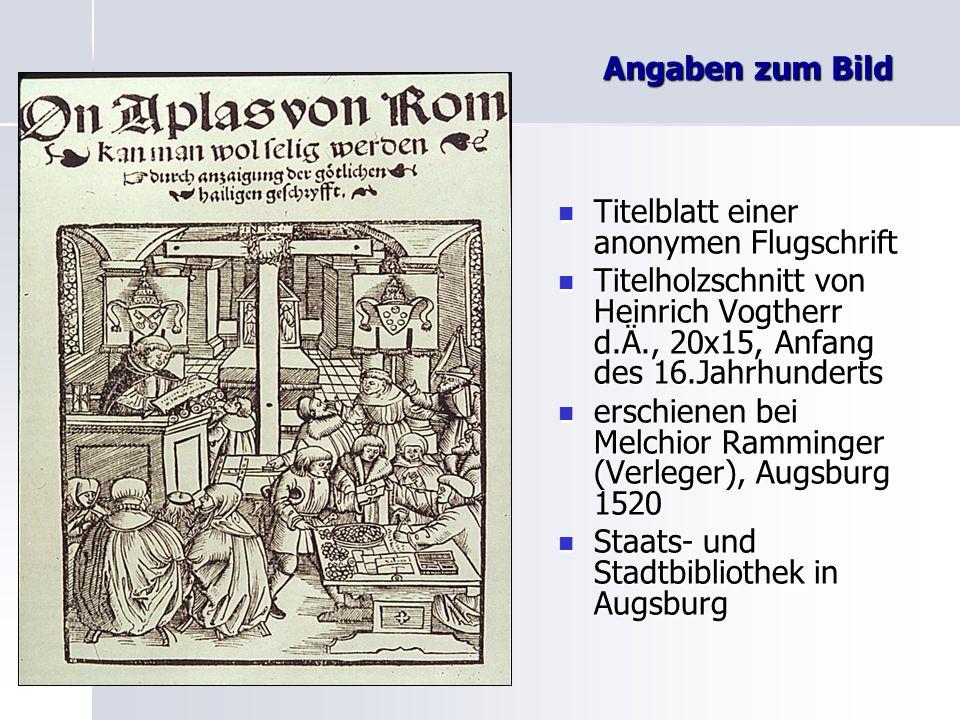 Angaben zum BildTitelblatt einer anonymen Flugschrift. Titelholzschnitt von Heinrich Vogtherr d.Ä., 20x15, Anfang des 16.Jahrhunderts.