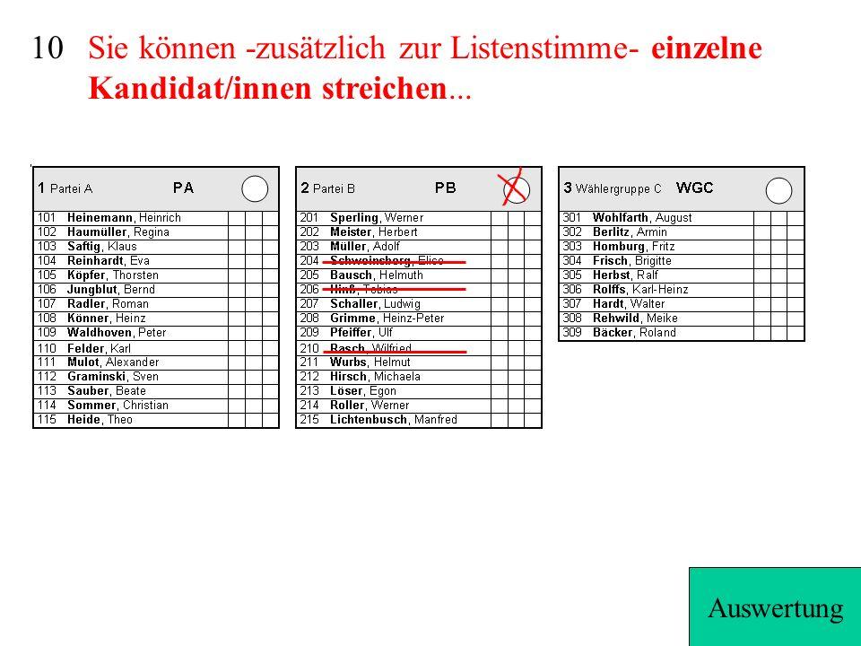 10 Sie können -zusätzlich zur Listenstimme- einzelne Kandidat/innen streichen... Auswertung