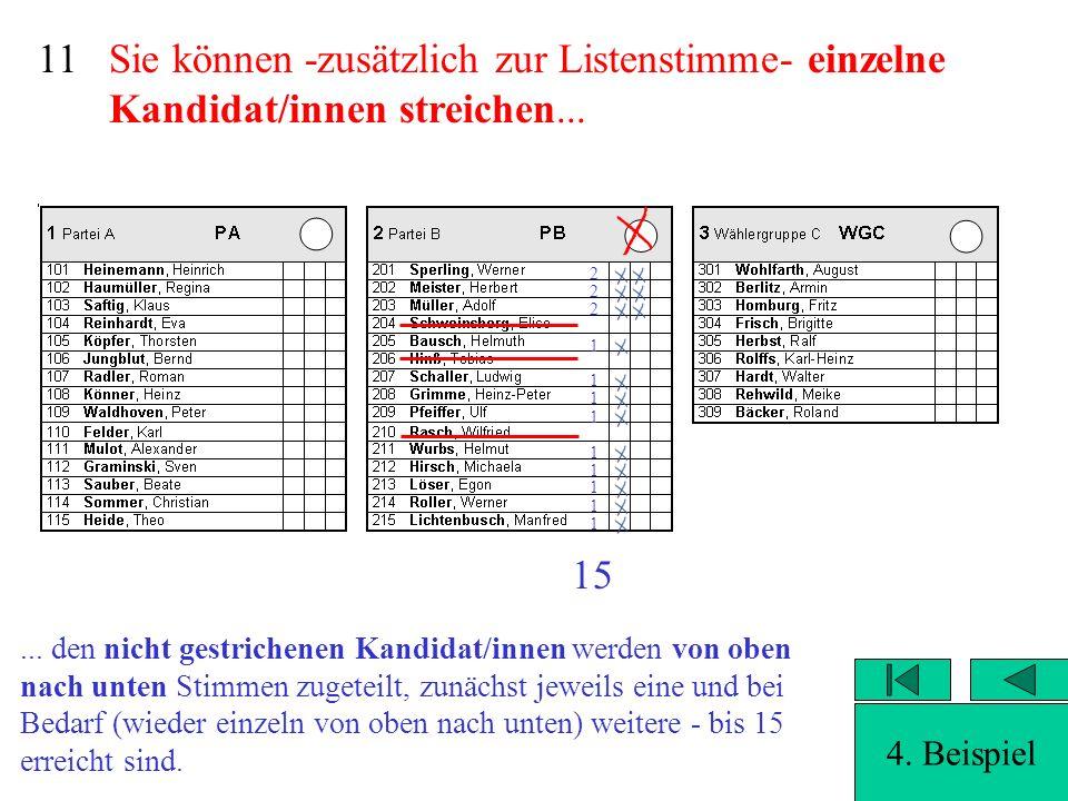 11 Sie können -zusätzlich zur Listenstimme- einzelne Kandidat/innen streichen... 2. 2. 2. 1. 1.