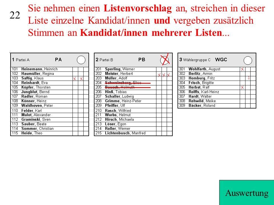 Sie nehmen einen Listenvorschlag an, streichen in dieser Liste einzelne Kandidat/innen und vergeben zusätzlich Stimmen an Kandidat/innen mehrerer Listen...