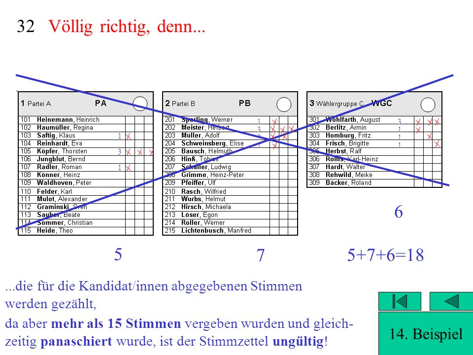 32 Völlig richtig, denn... 6 5 7 5+7+6=18 14. Beispiel