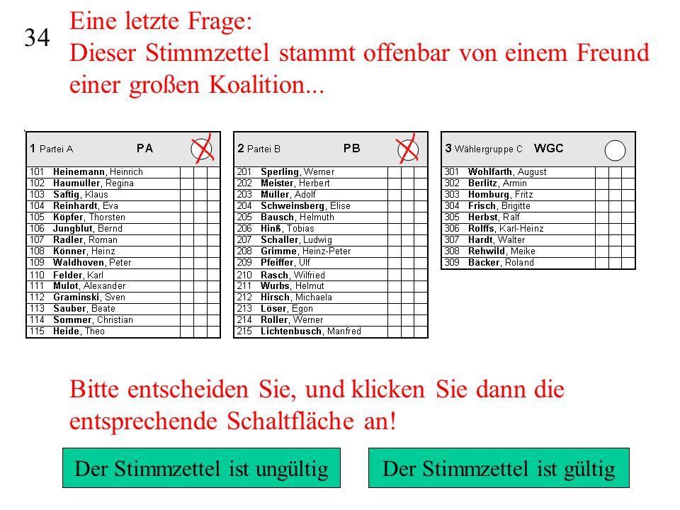 Eine letzte Frage: Dieser Stimmzettel stammt offenbar von einem Freund einer großen Koalition...
