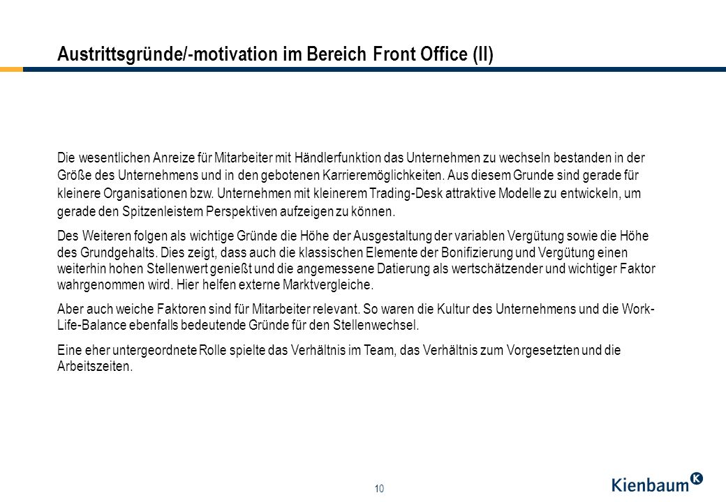 Austrittsgründe/-motivation im Bereich Front Office (II)