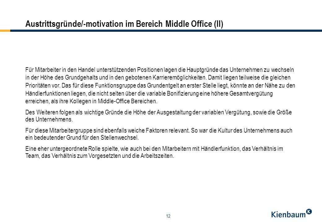 Austrittsgründe/-motivation im Bereich Middle Office (II)