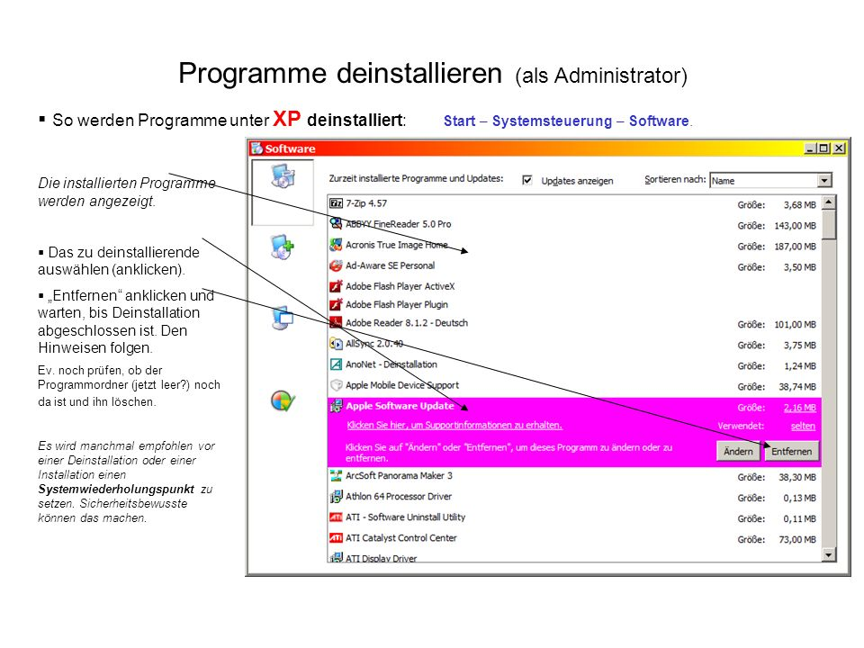 Programme deinstallieren (als Administrator)