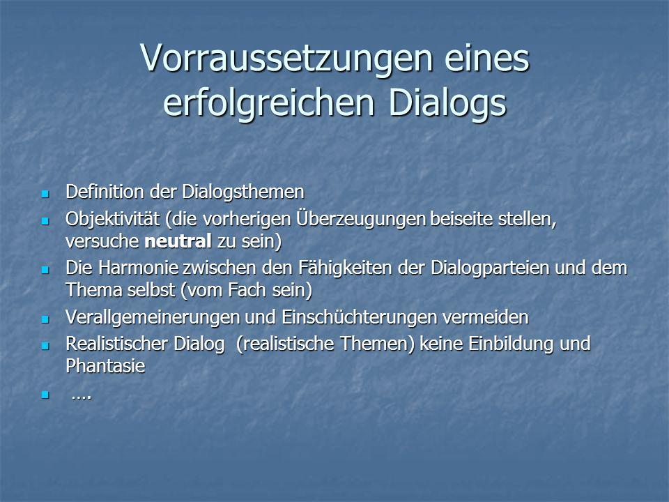 Vorraussetzungen eines erfolgreichen Dialogs
