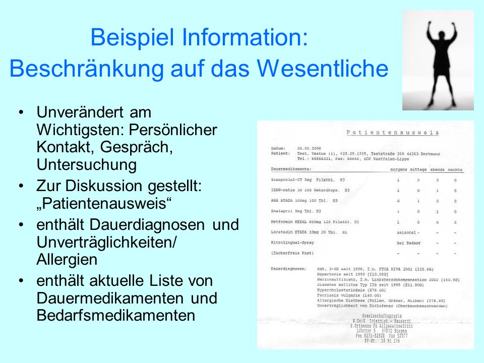 Beispiel Information: Beschränkung auf das Wesentliche