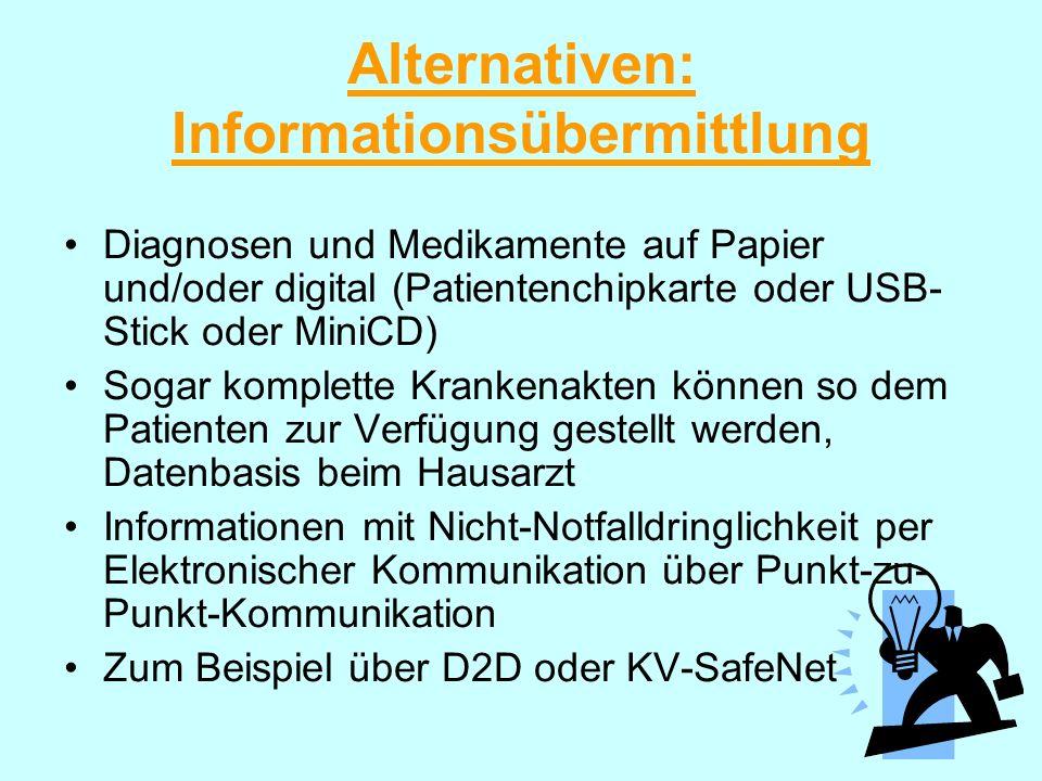 Alternativen: Informationsübermittlung