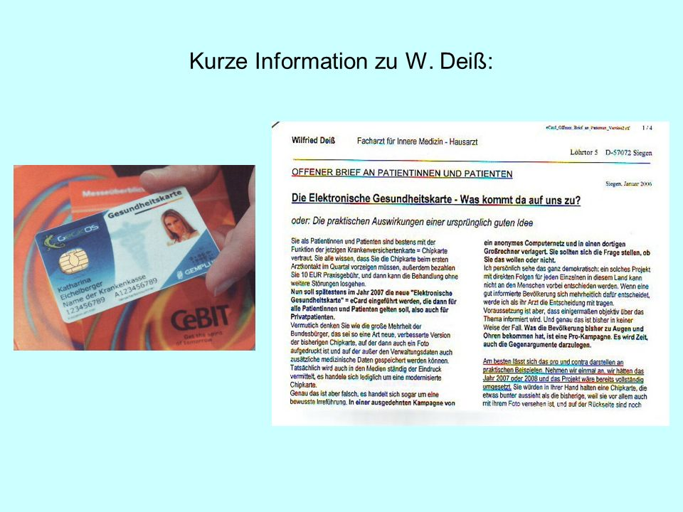 Kurze Information zu W. Deiß: