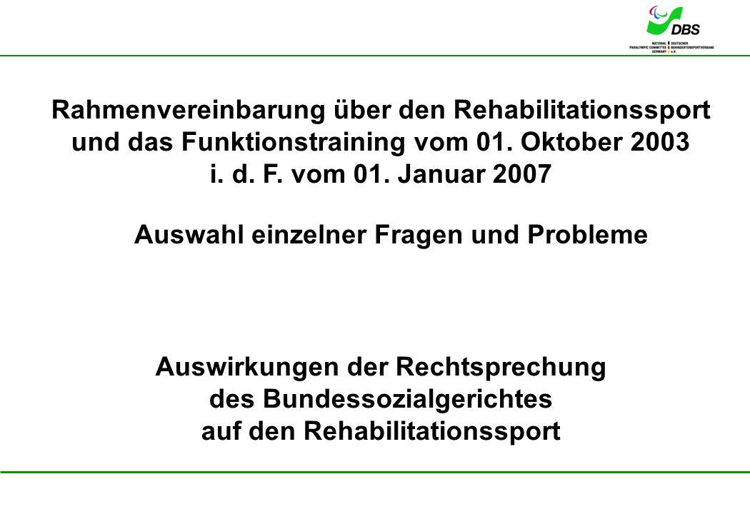 Rahmenvereinbarung über den Rehabilitationssport